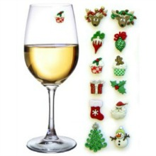 christmas holiday wine charms stemless glasses stocking stuffer hostess gift secret santa present