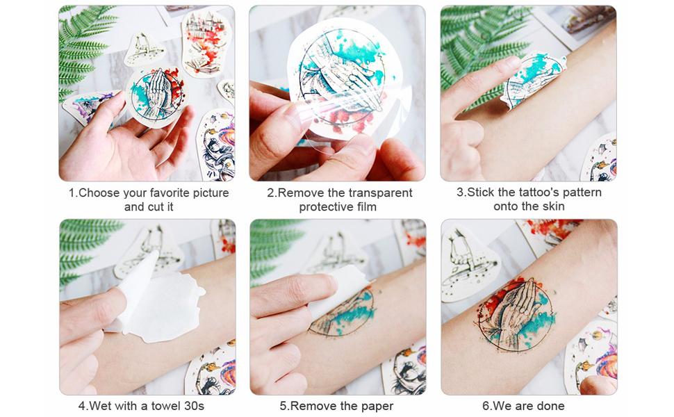 Amazoncom Kotbs 4 Sheets Large Waterproof Full Arm Tattoo Sticker