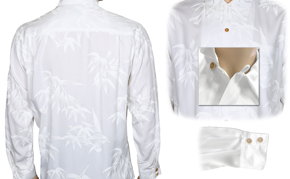 d2bb9cc2 Hawaiian Shirt Long Sleeves | Wedding Style Tropical Bamboo Design | Prime  Rayon Poplin Fabric