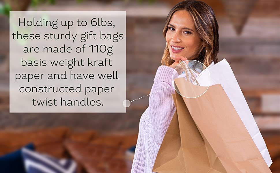 9.75 x 4.75 x 9.75 White PREMIUM Kraft Paper Shopping Bag with Custom Print