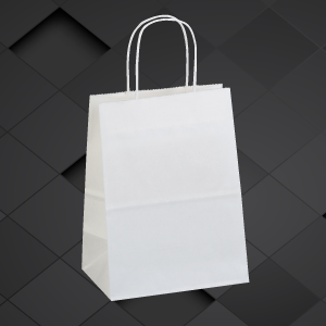White Kraft 8x4x10 paper shopping bags with handles