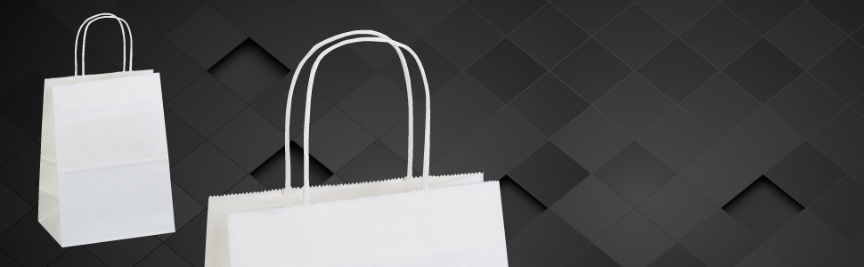 White Kraft Paper Shopping Bags With Handles