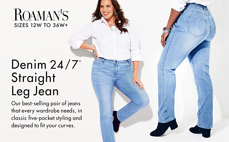 0c907379db6bbb Roamans Women's Plus Size Straight Leg Jean with Invisible Stretch ...
