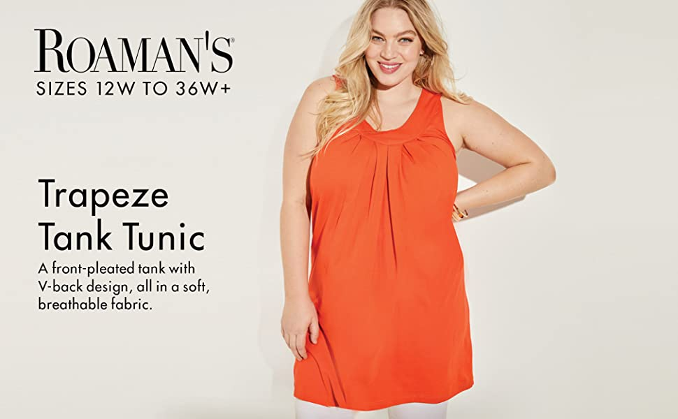 0505dafaba4 Roamans Women's Plus Size V-Neck Trapeze Tunic at Amazon Women's ...