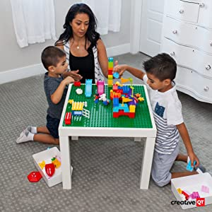 Image of mom and two children playing with blocks
