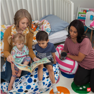 Two mothers reading with their children in the nursery while sitting on full Stuff n Sits