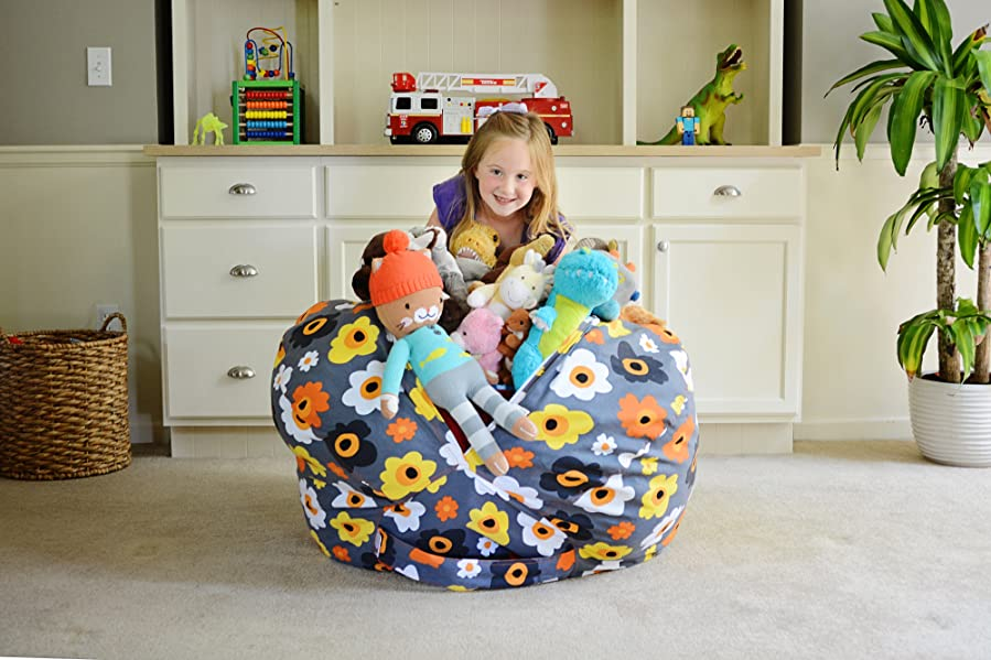 creative qt extra large stuff 39 n sit stuffed animal storage bean bag chair for. Black Bedroom Furniture Sets. Home Design Ideas