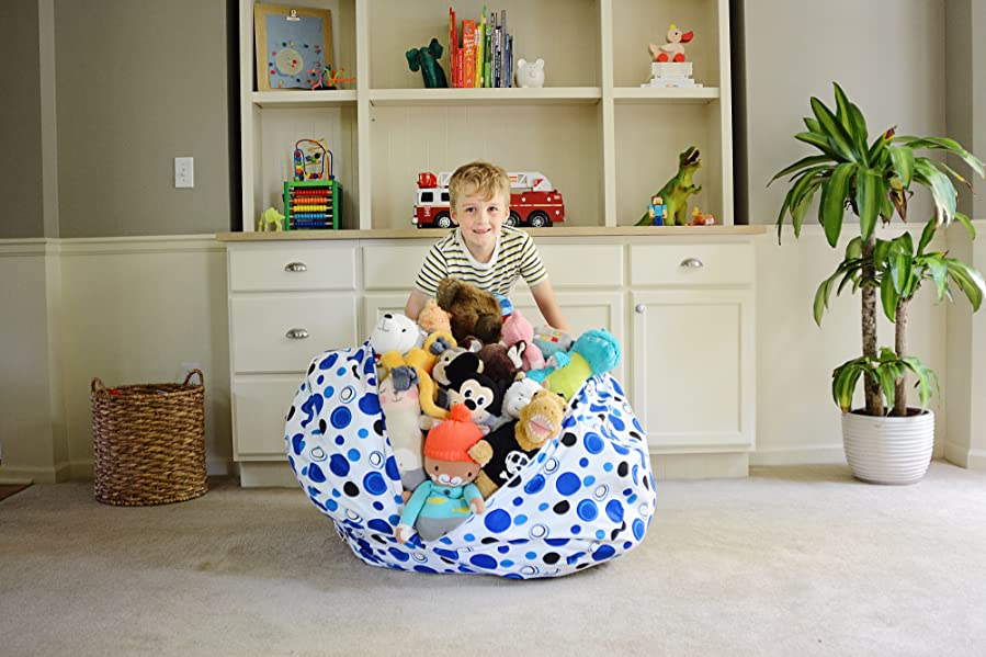extra large stuff 39 n sit stuffed animal storage bean bag cover by creative qt. Black Bedroom Furniture Sets. Home Design Ideas