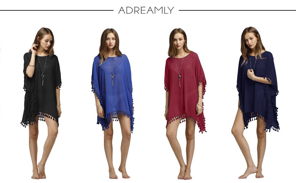 e50c9db069e1a Adreamly Women's Stylish Chiffon Tassel Kaftan Swimsuit Beachwear ...
