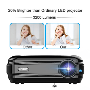 Projector, LESHP Video Projector 1080P HD Home Theater Movie Projectors 3200 Luminous Efficiency Backyard Outdoor LCD Support Laptop Xbox VGA USB ...