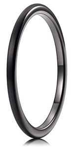 black brushed tungsten ring