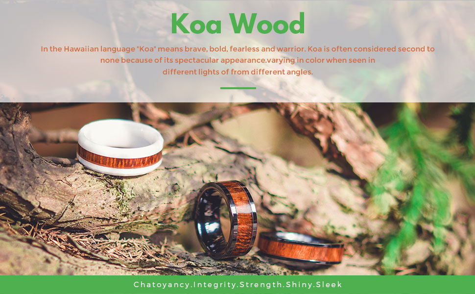 ceramic koa wood ring