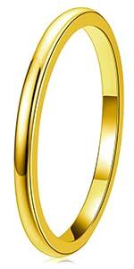 2mm Gold Tungsten Ring