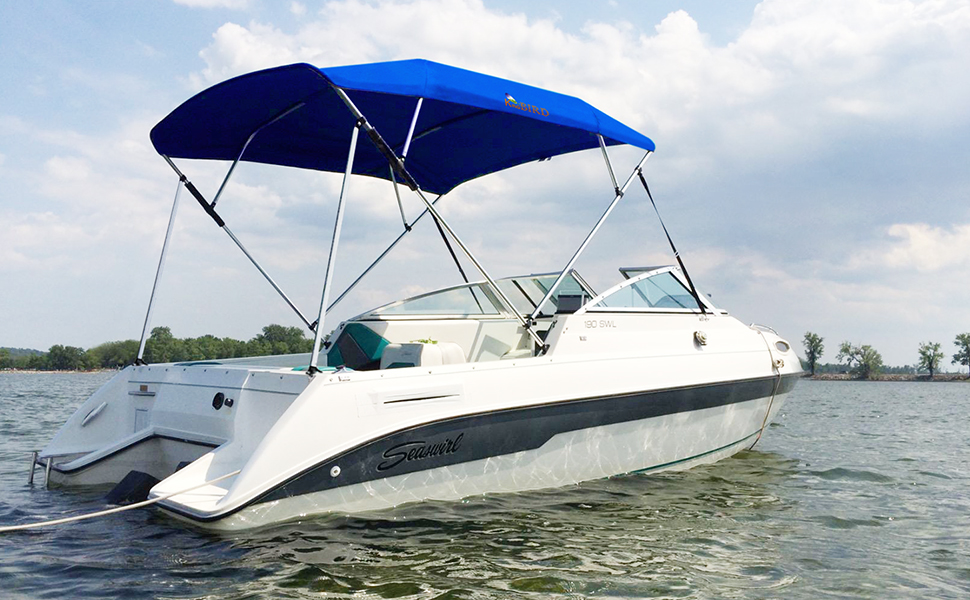 KING BIRD 4 Bow Bimini Top Boat Cover Sun Shade Boat Canopy Waterproof 1  Inch Stainless Aluminum Frame 54