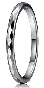 2mm Diamond Cuts Tungsten Wedding Ring