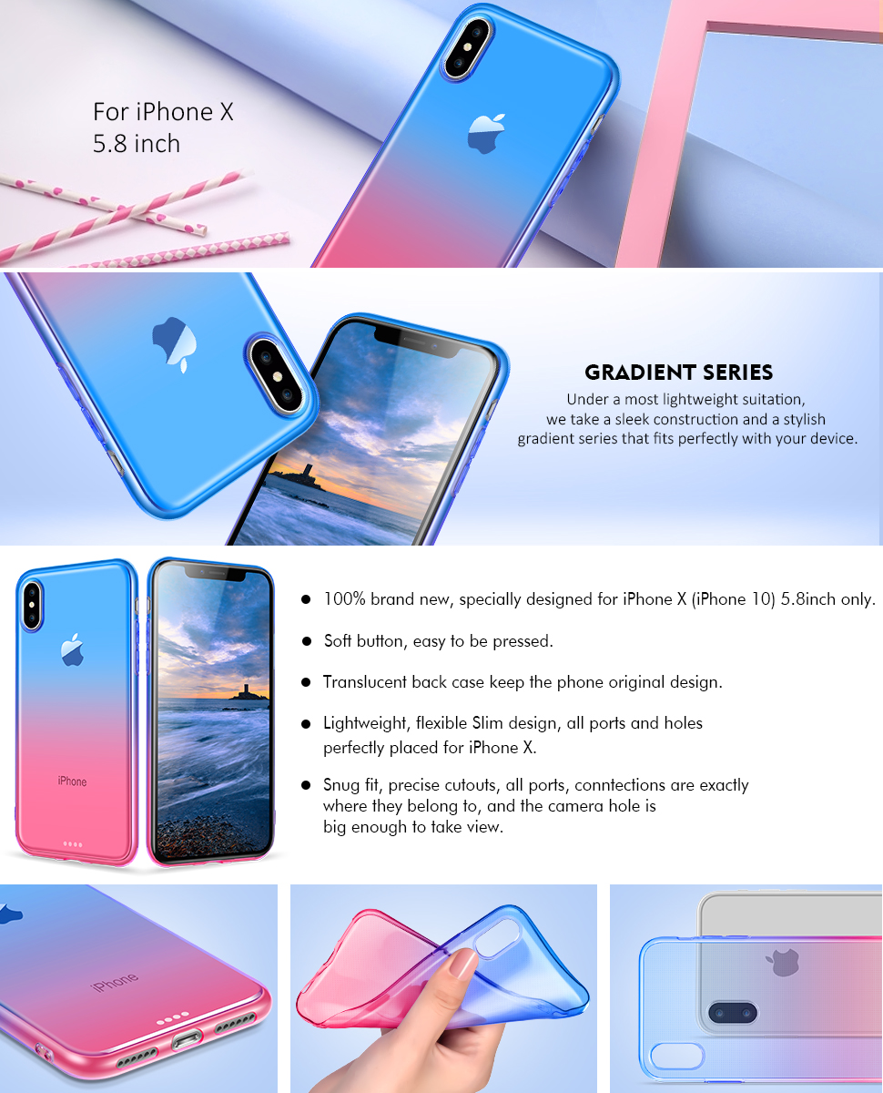 This super slim case is designed specifically for Apple iPhone X 5.8 inch  2017 Release. (NOT APPLY to Anyother iPhone Devices 4.7 Inch or 5.5 Inch )