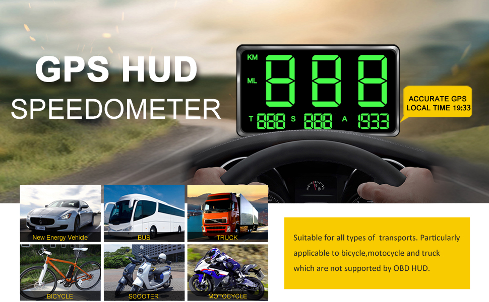 kingneed Original Universal GPS Head Up Display Speedometer Odometer Car Digital Speed Display MPH Over Speeding Alarm Car Clock for All Vehicles ...