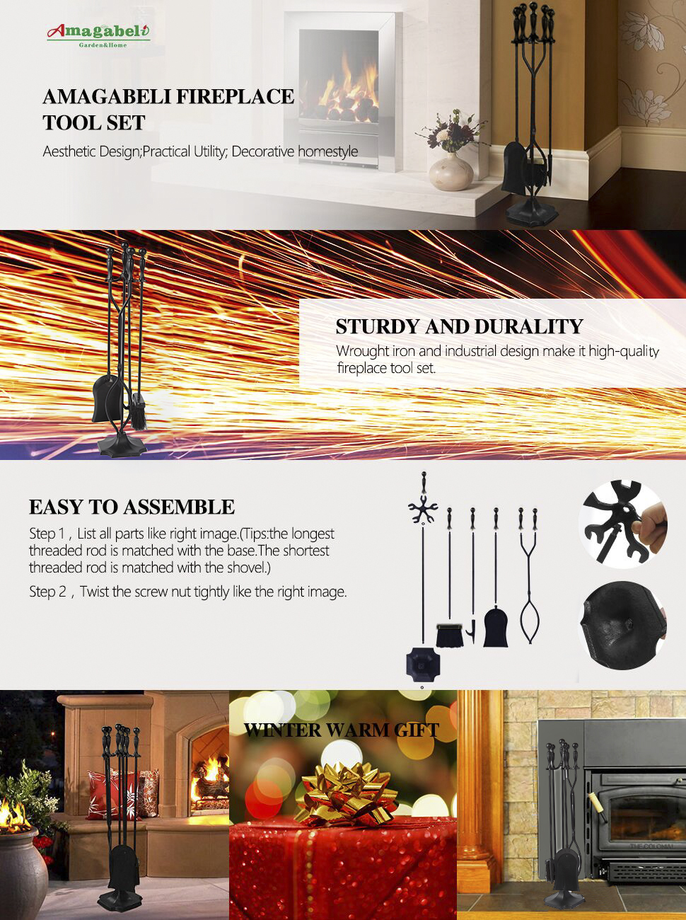 amazon com rustic fireplace tools 5 pieces wrought iron tool set