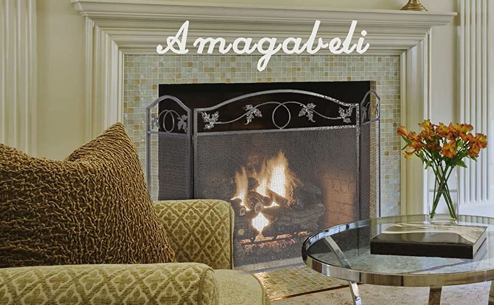 Amagabeli 3 panel pewter wrought iron for Child proof living room ideas
