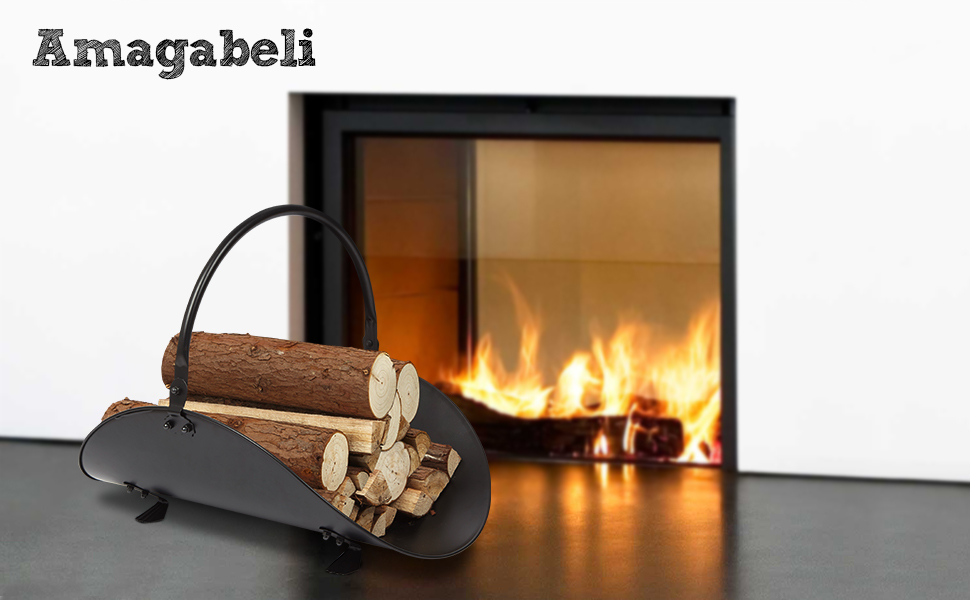 Amazon Com Amagabeli Indoor Black Fireplace Log Holder Hearth