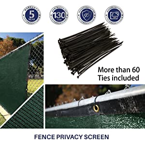60 ties needed in total to install this privacy fence screen each panel includes more than 60 recyclable cable ties