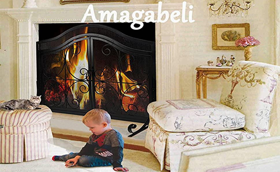 Fireplace Screen With Doors Baby Safety Iron Fireplace Panels Cover Solid Mesh 743021458046 Ebay