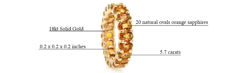 Albert Hern Natural Gemstones Eternity Gold 18kt Ring