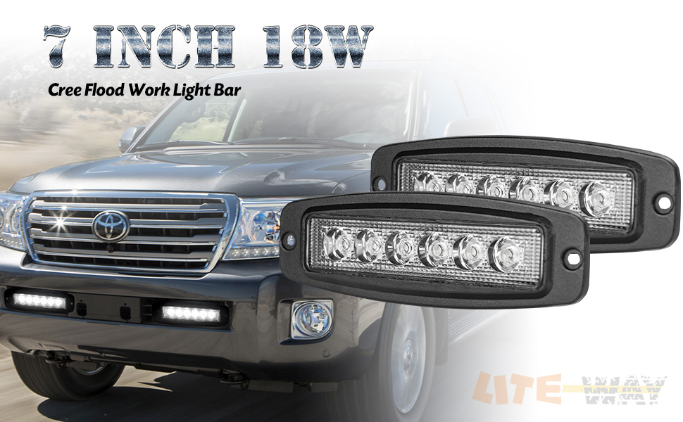 Liteway 7 2X18W Flush Mount LED Light Bar Fog Lights Pods Light