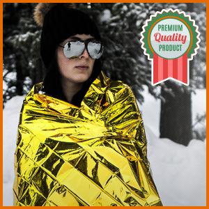 Woman wrapped in emergency blanket