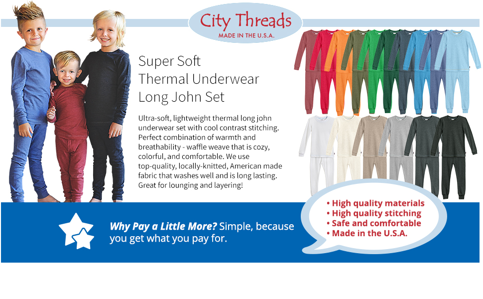 2T Road City Threads Little Boys Thermal Underwear Set Perfect for Sensitive Skin SPD Sensory Friendly Base Layer Thermal Wear Cotton Ski Clothing for Kids Comfortable Ultra Soft