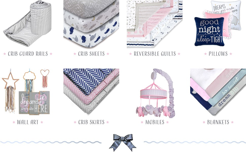baby wall art nursery wall decor crib sheet baby quilt baby blanket crib skirt 4 piece set 4pc set