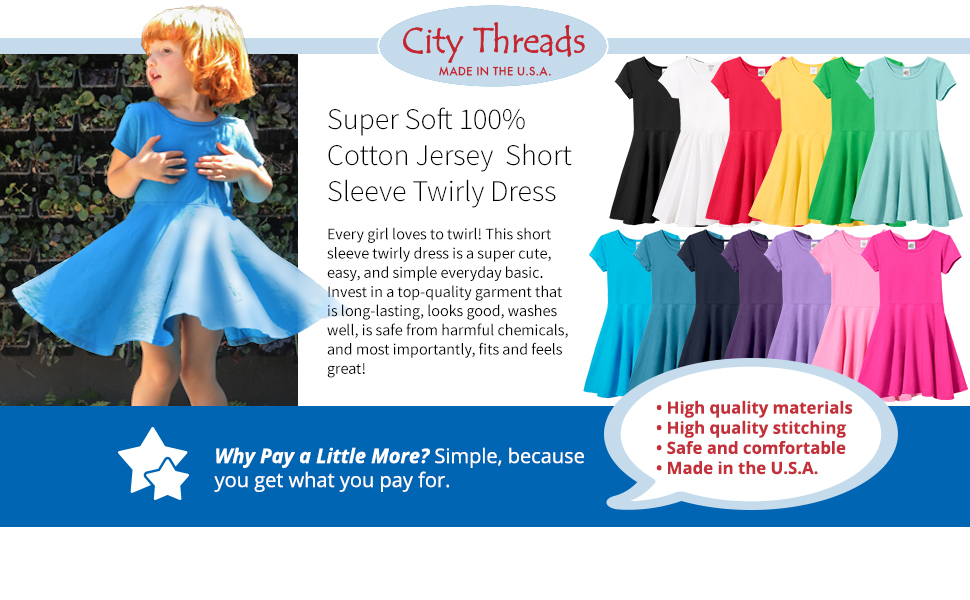 57bd79881 Amazon.com: City Threads Girls' Cotton Short Sleeve Skater Party ...