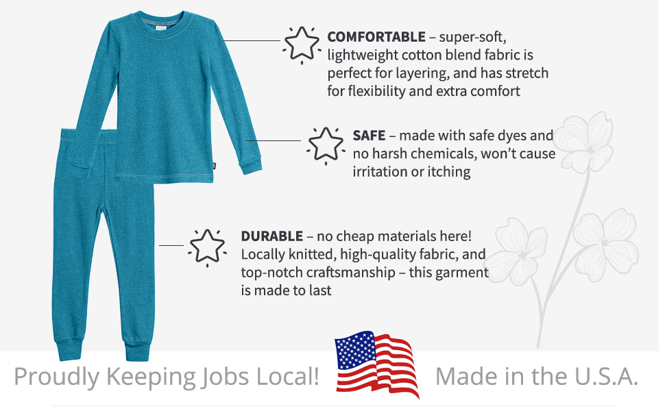 soft thermal long john pajama pj set durable quality