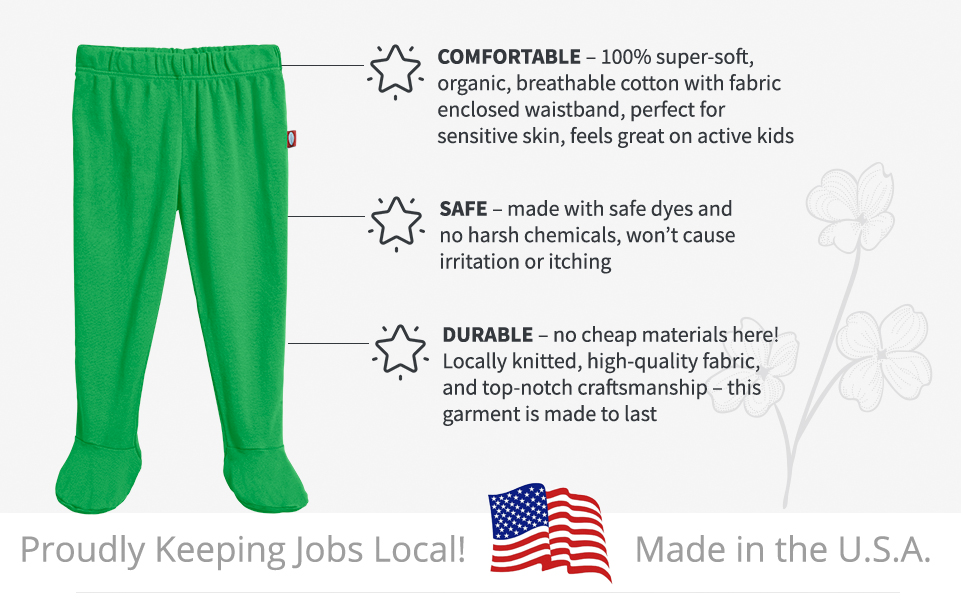 Made in USA Baby Boys and Girls Footed Pants 100/% Organic Cotton and Breathable
