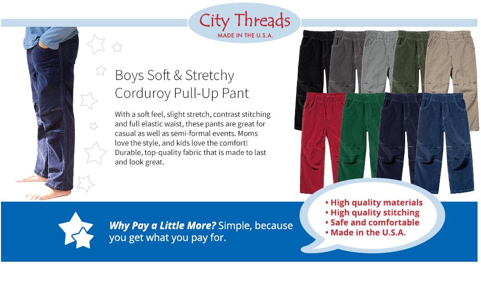 5fb354895f8 Amazon.com  City Threads Boys  Corduroy Pull-Up Pants for School or ...