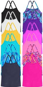Girls criss cross swim tankini outdoor summer active light colorful swim shirt sunsuit bottom tops
