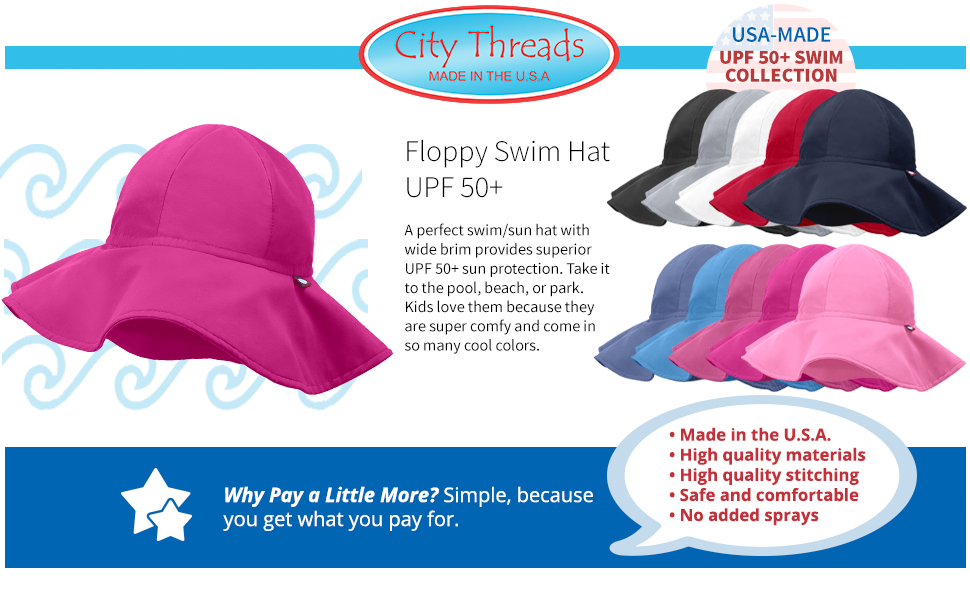 33430690a City Threads Floppy Swim Hat with SPF50+ for Boys and Girls Sun Hat for  Beach Pool Park