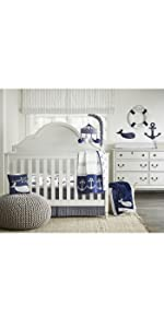4 piece crib bedding set bed in a bag baby boy nursery blue gray grey white whale baby room
