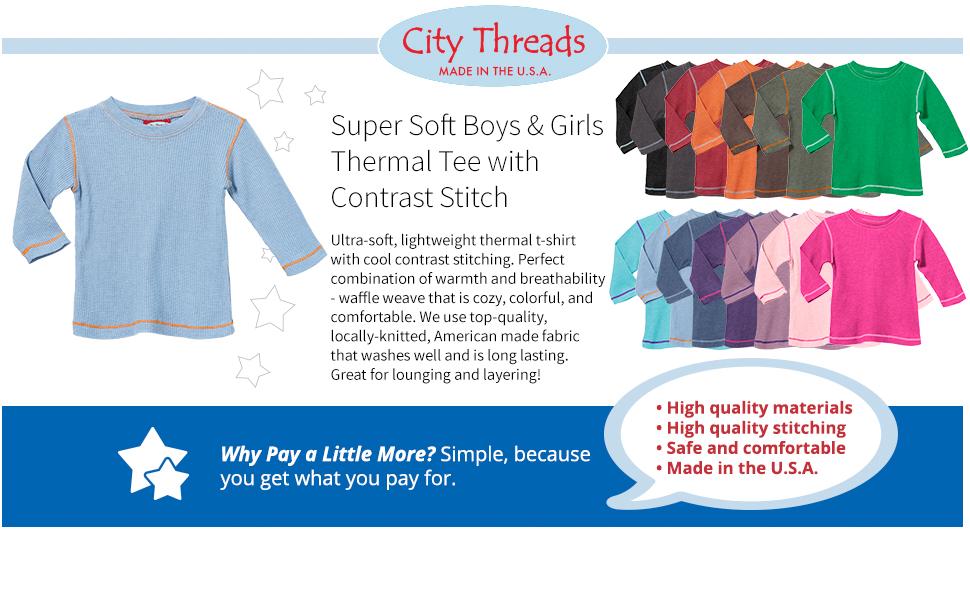 soft boys girls thermal tee contrast stitch cozy comfy