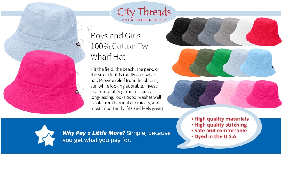 be43c8ad574 Amazon.com  City Threads Bucket Hat for Boys and Girls Sun ...