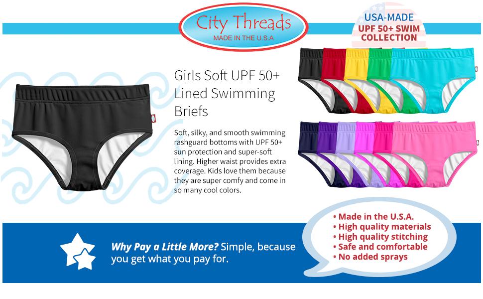 Vintage Style City Threads Little Girls Swimwear Briefs High Waisted Bottoms Beachwear UPF 50+