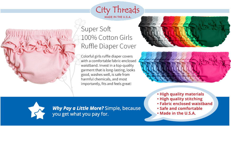 City Threads Baby Girls 100/% Soft Cotton Ruffle Diaper Cover Bloomers Made USA