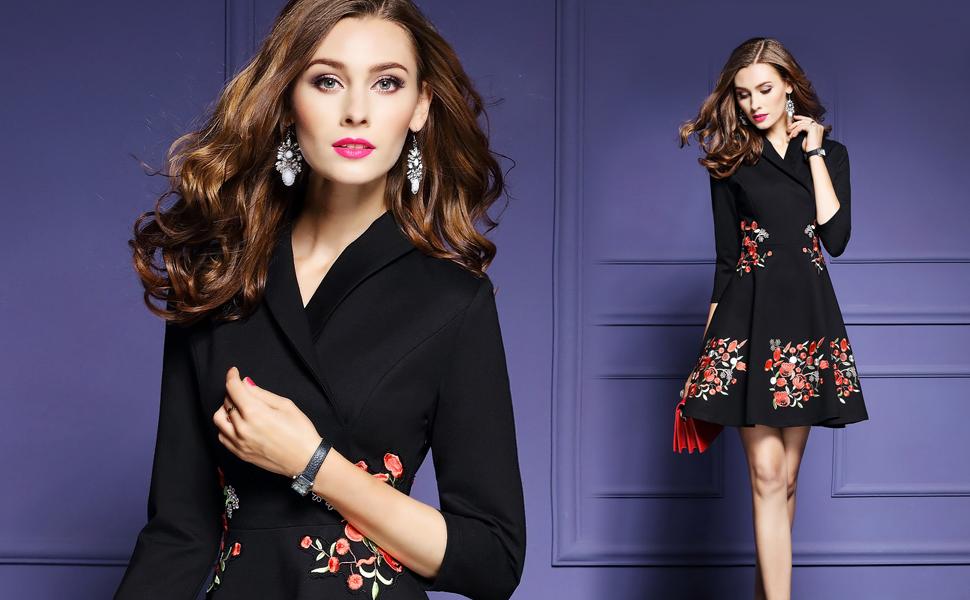 a3eaceb0f0 Women s Premium V Neck Embroidered Floral 2 3 Sleeves Skater ...