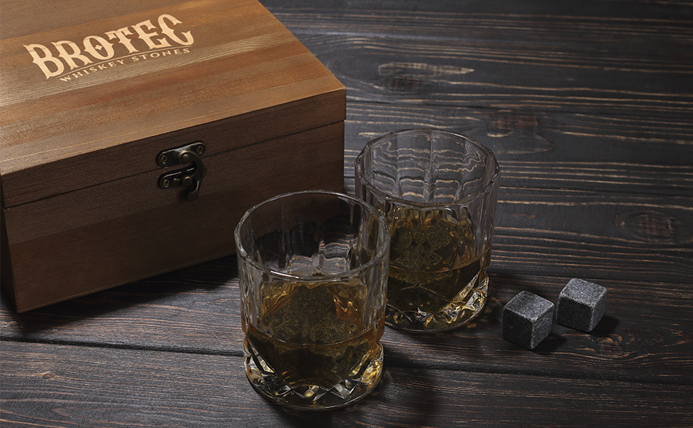 Whiskey Stones Gift Set - Chilling Rocks with Glasses, 2 Coasters and Handmade Wooden Box