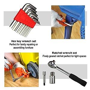 juego de herramientas m/últiples herramientas de reparaci/ón del hogar juegos de herramientas para el propietario kits de herramientas para el hogar KINGORIGIN 95 piezas