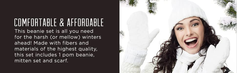 women winter set pop beanie mitten set and scarf