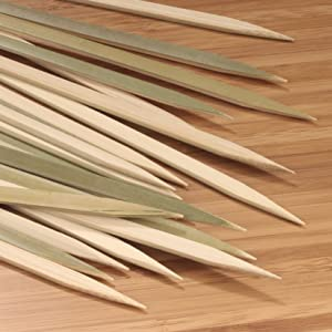 bamboomn bamboo flat style food skewers picks grill cook-out kebabs meat veggies party cutting board