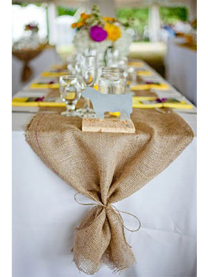 table runner rustic wedding farm burlap jute hessian dining room graduation party event center piece