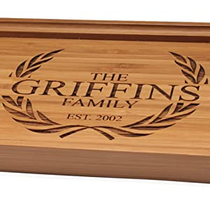 BambooMN Bamboo engraved customized personalized serving tray