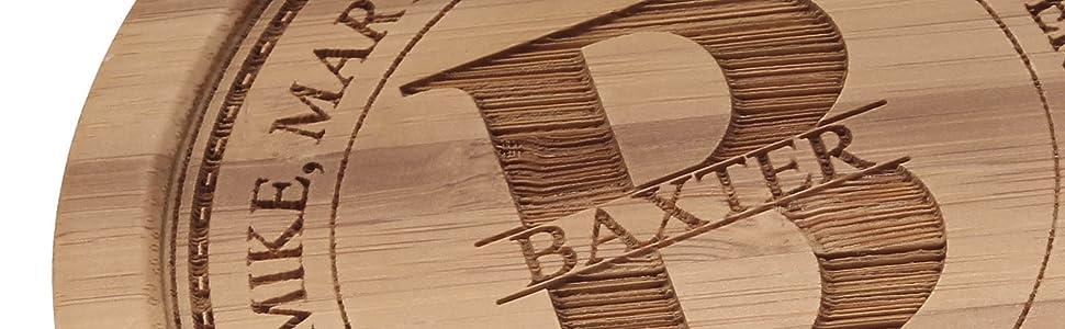 coaster engraved custom bamboo bamboomn laser engraving personalized customized